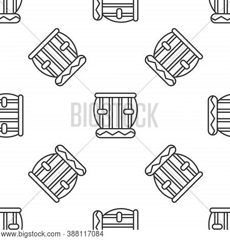 Grey Line Indian Musical Instrument Tabla Icon Isolated Seamless Pattern On White Background. Vector