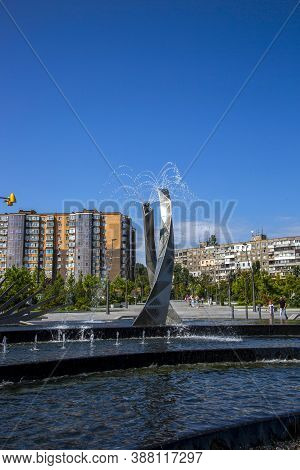 Dnepr, Ukraine - August 26, 2020: Fountain In A New Recreation Park On The Embankment Of The City