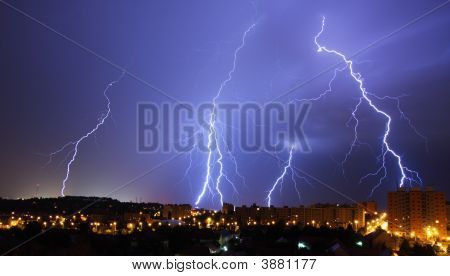 Lightning During a Night Storm