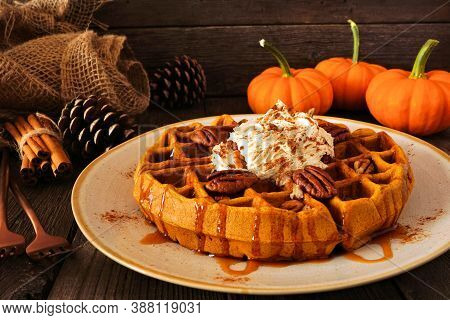 Pumpkin Spice Waffle With Whipped Topping, Caramel And Pecans. Side View Table Scene With A Dark Woo