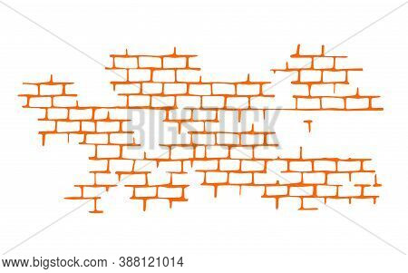 Seam. Brick Wall. Vector Texture Pattern Orange. Flat Mockup, Clean For Design Decoration Isolated O