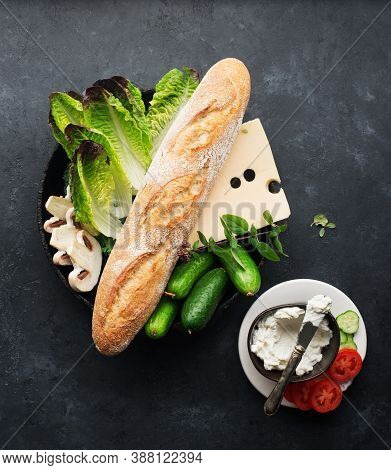 Baguette Cheese Vegetables Ingredients For A Fresh Crispy Sandwich For Breakfast Or A Snack For The