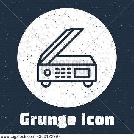 Grunge Line Scanner Icon Isolated On Grey Background. Scan Document, Paper Copy, Print Office Scanne