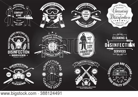 Set Of Disinfection And Cleaning Services Badge, Logo, Emblem. Vector. For Professional Disinfection