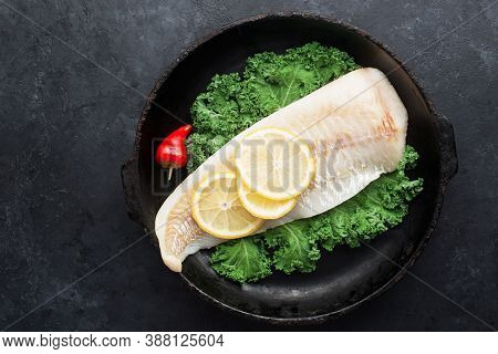 Cod Fillet Of Sea White Fish, Kale, Hot Peppers, Ingredients Of Healthy Balanced Comfortable Nutriti