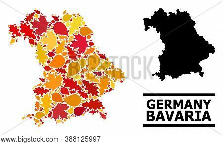 Mosaic Autumn Leaves And Usual Map Of Bavaria State. Vector Map Of Bavaria State Is Organized With R