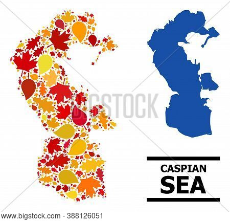 Mosaic Autumn Leaves And Usual Map Of Caspian Sea. Vector Map Of Caspian Sea Is Done From Random Aut