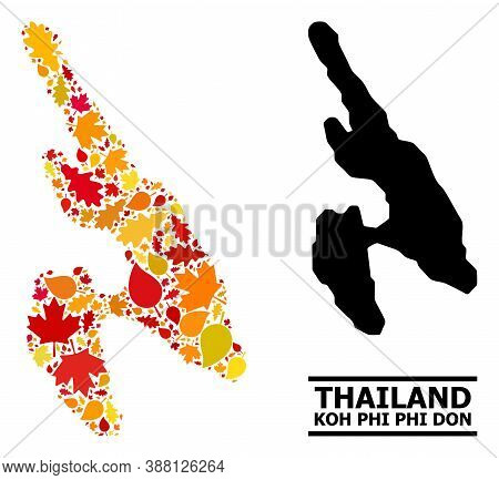 Mosaic Autumn Leaves And Solid Map Of Koh Phi Don. Vector Map Of Koh Phi Don Is Made With Randomized