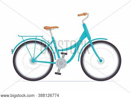 Cute Women S Bike With A Low Frame. Vintage Blue Bicycle. Vector Illustration In Flat Style