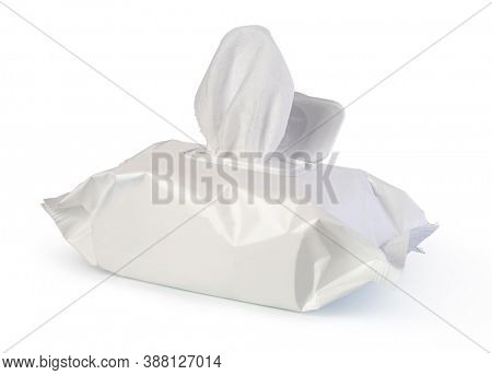 Open wet wipes flow pack, isolated on white background
