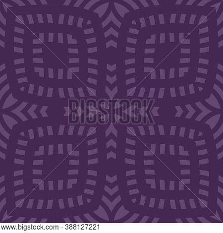 Vector Geometric Seamless Pattern. Abstract Ethnic Texture With Ornamental Grid, Mesh, Lattice. Trib