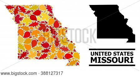 Mosaic Autumn Leaves And Solid Map Of Missouri State. Vector Map Of Missouri State Is Made Of Random