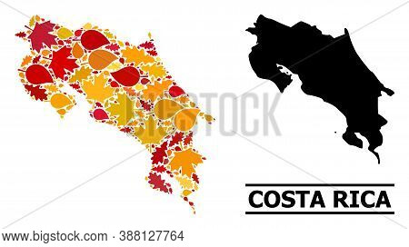 Mosaic Autumn Leaves And Solid Map Of Costa Rica. Vector Map Of Costa Rica Is Composed With Random A