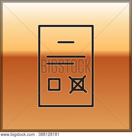 Black Line Poll Document Icon Isolated On Gold Background. Vector