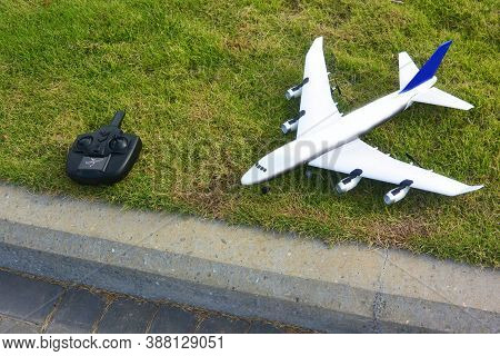 Rc Model Of A Passenger Plane With A Control Unit, Cambodia, Asia