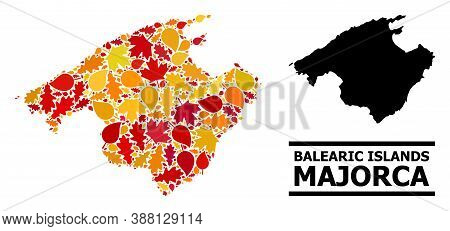 Mosaic Autumn Leaves And Solid Map Of Majorca. Vector Map Of Majorca Is Composed Of Randomized Autum