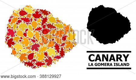 Mosaic Autumn Leaves And Usual Map Of La Gomera Island. Vector Map Of La Gomera Island Is Designed W