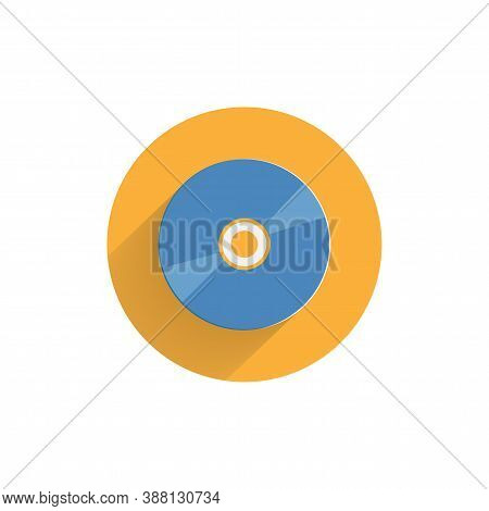 Cd Colorful Flat Icon With Long Shadow. Cd Drive Flat Icon