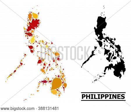 Mosaic Autumn Leaves And Usual Map Of Philippines. Vector Map Of Philippines Is Designed From Random