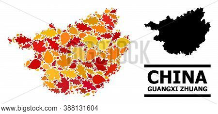 Mosaic Autumn Leaves And Solid Map Of Guangxi Zhuang Region. Vector Map Of Guangxi Zhuang Region Is