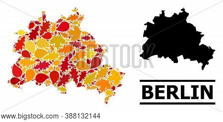 Mosaic Autumn Leaves And Solid Map Of Berlin City. Vector Map Of Berlin City Is Designed Of Random A