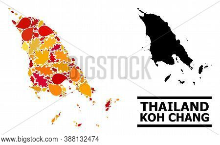 Mosaic Autumn Leaves And Usual Map Of Koh Chang. Vector Map Of Koh Chang Is Formed With Scattered Au