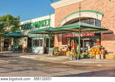 FORT COLLINS, CO, USA - SEPTEMBER 16 2014:  Whole Foods Market with stores in the USA, Canada, and the UK, is foods supermarket chain specializing in natural and organic foods.