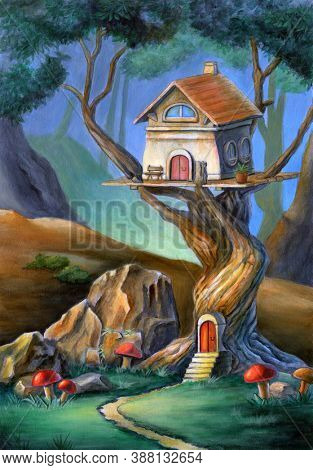 Fantasy scene with a cute house on top of a tree. Mixed media illustration, acrylic and colored pencil on paper.