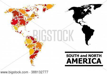 Mosaic Autumn Leaves And Usual Map Of South And North America. Vector Map Of South And North America
