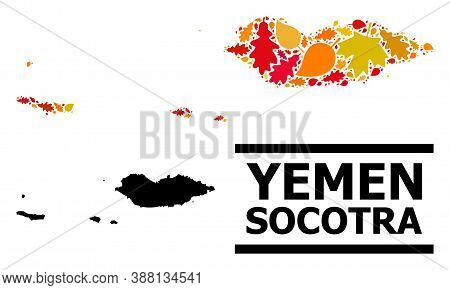 Mosaic Autumn Leaves And Usual Map Of Socotra Archipelago. Vector Map Of Socotra Archipelago Is Made