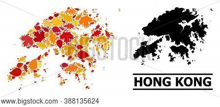 Mosaic Autumn Leaves And Usual Map Of Hong Kong. Vector Map Of Hong Kong Is Constructed Of Randomize