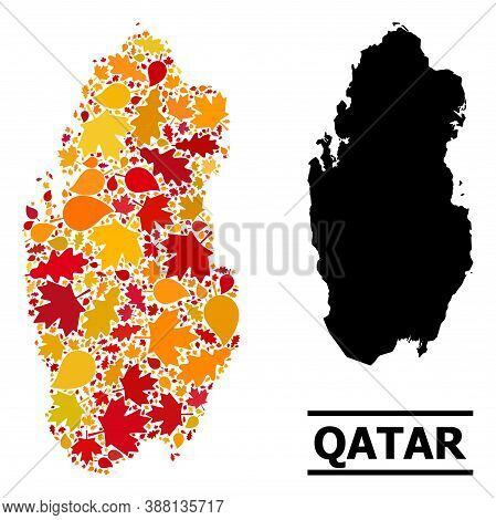 Mosaic Autumn Leaves And Usual Map Of Qatar. Vector Map Of Qatar Is Done With Random Autumn Maple An