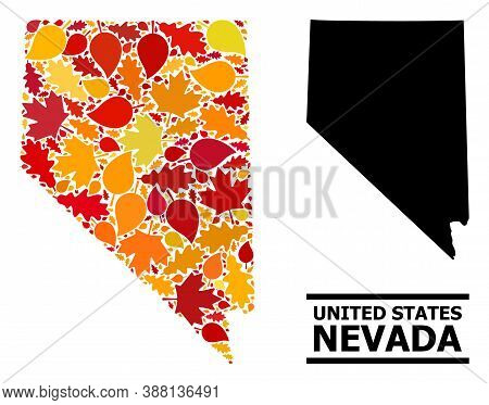 Mosaic Autumn Leaves And Usual Map Of Nevada State. Vector Map Of Nevada State Is Designed With Scat