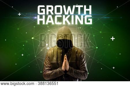 Mysterious hacker with GROWTH HACKING inscription, online attack concept inscription, online security concept