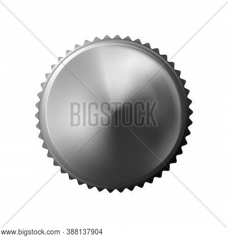 Knurled Screw Metal Realistic, Top View. Bolt With A Grey Knurled Head Isolated On White Background.