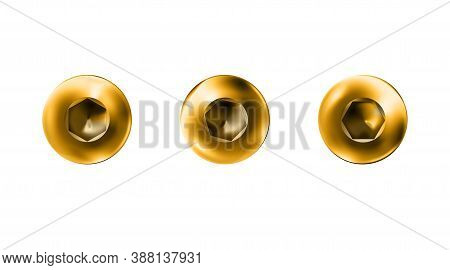 Set Gold Imbus Screw, Bolt With A Cylindrical Head. Shiny Cap Twisted In Surface Isolated On White B