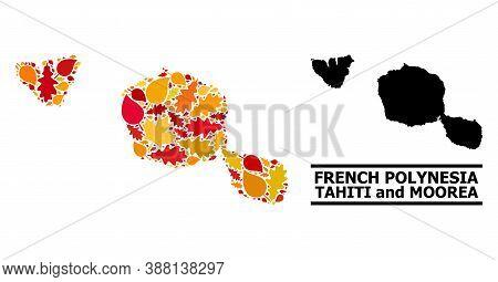Mosaic Autumn Leaves And Usual Map Of Tahiti And Moorea Islands. Vector Map Of Tahiti And Moorea Isl