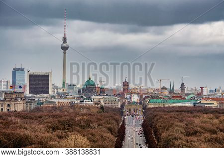 Berlin / Germany - March 10, 2017: View From The Platform Of The Victory Column (siegessäule) Toward