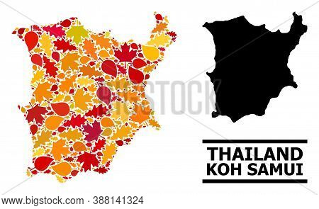 Mosaic Autumn Leaves And Usual Map Of Koh Samui. Vector Map Of Koh Samui Is Done With Randomized Aut
