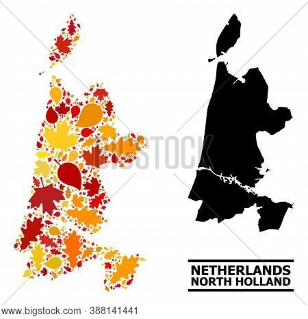 Mosaic Autumn Leaves And Solid Map Of North Holland. Vector Map Of North Holland Is Done From Random