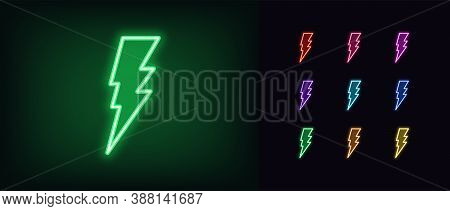Neon Lightning Bolt Icon. Glowing Neon Thunder Flash Sign, Electrical Discharge In Vivid Colors. Bri