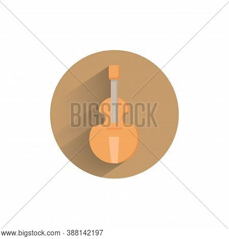 Cello Colorful Flat Icon With Shadow. Musical Instrument Flat Icon