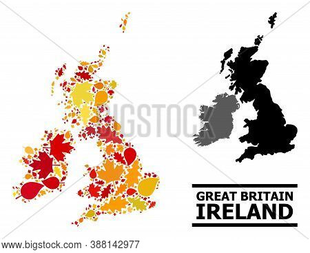Mosaic Autumn Leaves And Usual Map Of Great Britain And Ireland. Vector Map Of Great Britain And Ire