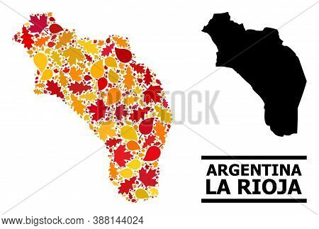 Mosaic Autumn Leaves And Usual Map Of Argentina - La Rioja. Vector Map Of Argentina - La Rioja Is Fo