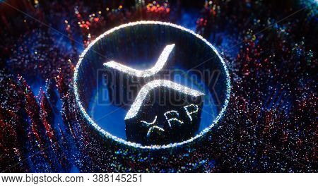 Digital Art Xrp Logo Symbol. Ripple Cryptocurrency Futuristic 3d Illustration