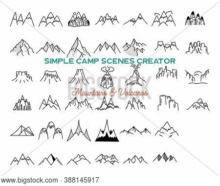 Simple Vector Mountains Icons Shapes Set. Logo Creation Kit. Outdoor Adventure Line Art Mountain Ele