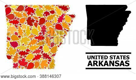 Mosaic Autumn Leaves And Solid Map Of Arkansas State. Vector Map Of Arkansas State Is Composed With