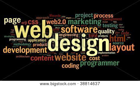 Web design concept in word tag cloud on black background