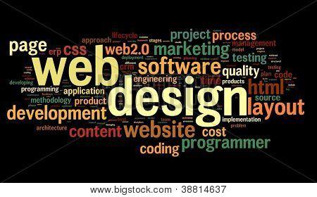 Conceito de design web na nuvem de Tags palavra sobre fundo preto
