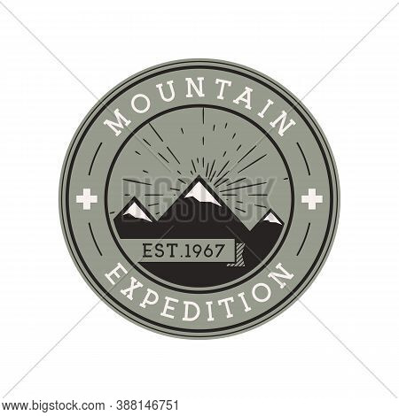 Camping Mountain Expedition Logo Emblem Illustration Design. Outdoor Adventure Label With Mountains